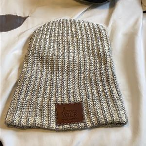 White and Navy Speckled LYM Beanie